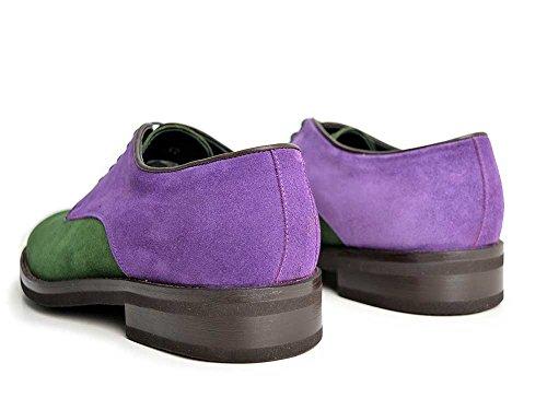 Pertini - Derby Scamosciato Viola Verde Derby uomo scamosciato viola e verde con suola in gomma leggera, personalizzabile e fatto a mano, made in Italy.