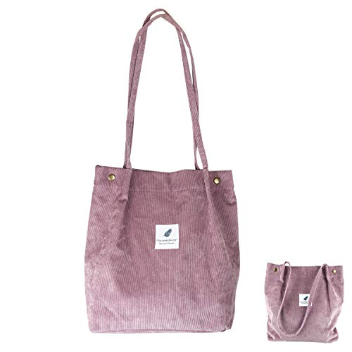 Eflying Lion Corduroy Shoulder Bag Shopping Tote Bag Retro Casual Handbags,Girls Bag,Ladies Shoulder Bag (light purple)