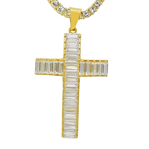 (Stainless Steel Yellow Gold-Tone Iced Out Hip Hop Bling Hollow Baguette Stone Cross Pendant With 1 Row Stone Tennis Chain 16