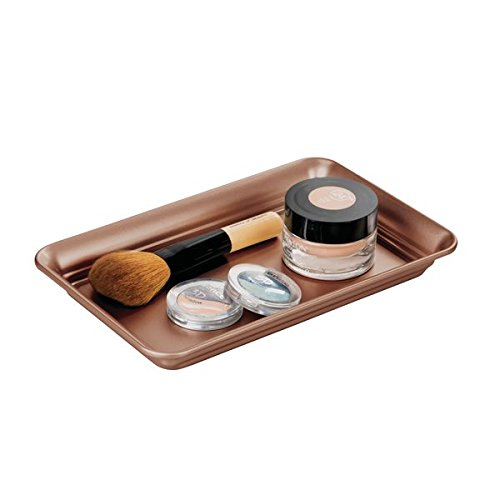mDesign Metal Storage Organizer Tray for Bathroom Vanity Countertops, Closets and Dressers - Holder for Guest Hand Towels, Watches, Earrings, Makeup Brushes, Reading Glasses, Perfume - Venetian Bronze ()