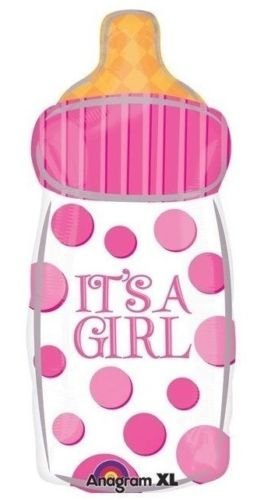 loonballoon It 's A Girlベビーピンクボトル形状ポルカドット27 cmシャワーパーティーMylar Balloon   B01FTXOWTM
