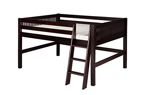 - Camaflexi Mission Style Solid Wood Low Loft Bed, Full, Side Angled Ladder, Cappuccino