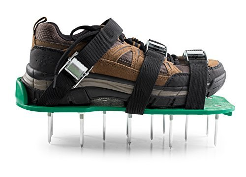 Fully Assembled Lawn Aerator Shoes - Heavy Duty Steel Spikes, Adjustable Straps, Zinc Alloy Buckles with Wrench and Bonus Spare Parts - Yard and Garden Tools by MayGree