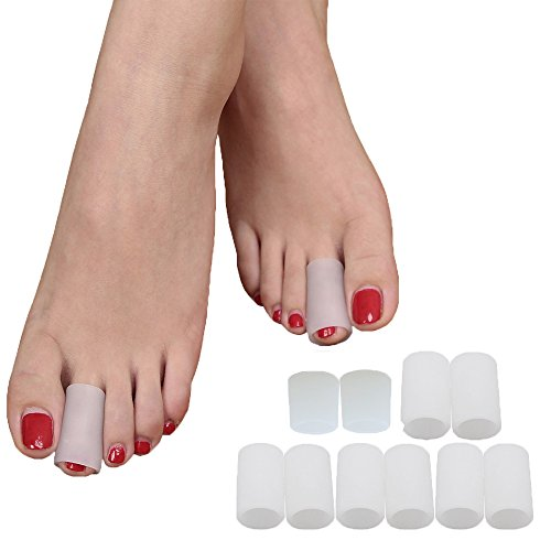 Povihome Gel Toe Protector, Toe Sleeves, Blister Protector for Hammer Toe, Callus, Blister, Sore Corns - 5 Pairs (for Pinky and Middle Toe)