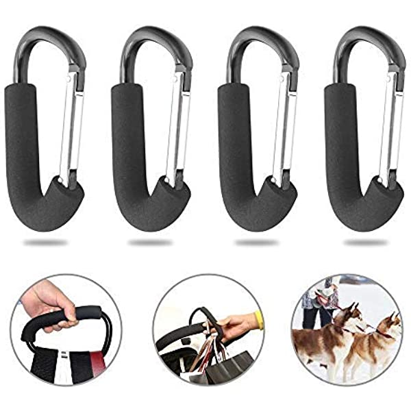 2-Pack Heavy-Duty Aluminum Alloy Carabiner Clips for Strollers Stroller Hooks by Luv Your Baby