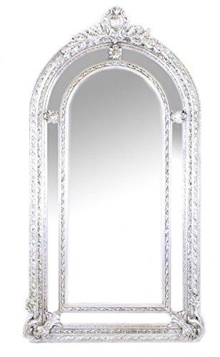 Riesiger Casa Padrino Luxus Barock Wandspiegel Silber Versailles 210 x 115 cm - Massiv und Schwer - Silberner Spiegel