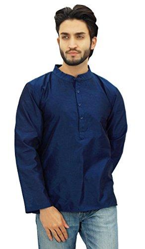 Atasi Ethnic Navy Blue Men's Short Kurta Mandarin Collar Dupion (Large Blue Kurta)