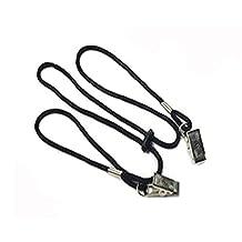 Baby Elderly Adult Adjustable Black Bib Clip Neck Strap Napkin Clip Lanyard (2pcs)