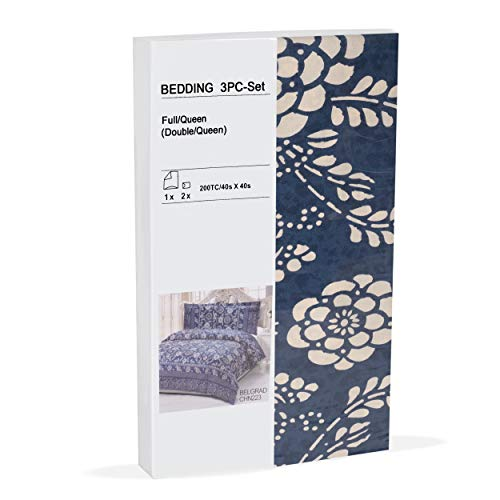 "100% Cotton Blue and White Floral Pattern Duvet Cover Set Full / Queen ""Duvet Cover and 2 Pillowcases Included"""