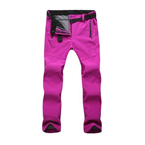 Zhhlaixing Outdoor Women's Fleece Soft Shell Warm Riding Skiing Climbing Hiking Pants Rose Red