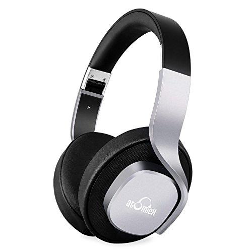 iDeaUSA Bluetooth Kopfhörer, Over-Ear Wireless Stereo Headset mit integriertem Mikrofon, Einklappbar und verstellbar, 25 Stunden Musikwiedergabe, geeignet für Smartphones, Tablet PC, TV, Notebooks etc. - Schwarz/Silver