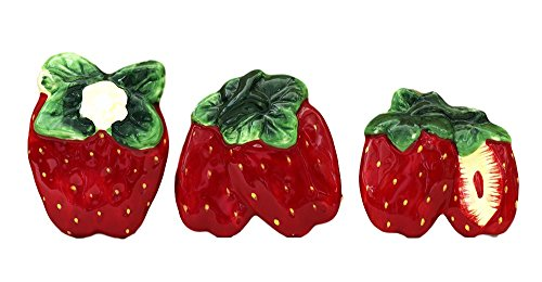 3-D Strawberry 3-piece Magnets, 83586 Red Refrigerator Magnet