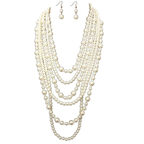 Simple Bead Six Layered Strands Cream Simulated-Pearl Beads Long Gold Chain Necklace Earrings Set