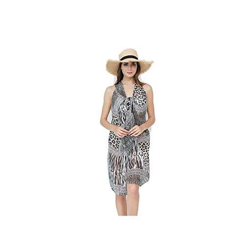 FELIX & SiLK Mujer Niña Leopardo Flores Camisolas Sarong Pareo Bufanda Wrap Protección Solar UV Playa Ropa de baño...