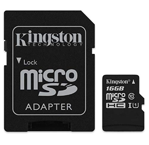 - Kingston Canvas Select 16GB microSDHC Class 10 microSD Memory Card UHS-I 80MB/s R Flash Memory Card with Adapter (SDCS/16GB)