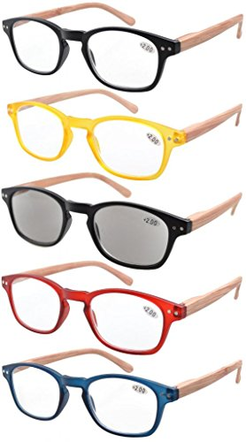 (Eyekepper 5-Pack Spring Hinge Wood-Grain Printed Arms Reading Glasses Includes Sunshine Readers +2.5)