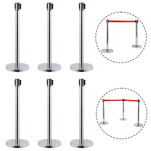 6 Pcs. Belt Retractable Crowd Control Stanchion Barrier Posts Queue Pole, Red by Alek...Shop (Image #2)