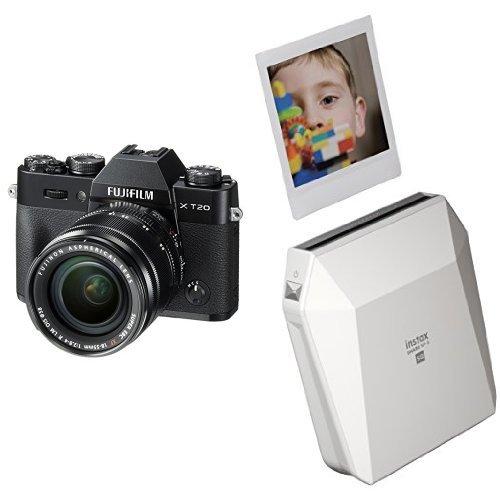 Fujifilm X-T20 Mirrorless Digital Camera w/XF18-55mmF2.8-4.0 R LM OIS Lens - Black + Fujifilm Instax Square SP-3 White (Xf18 55mmf2 8 4 R Lm Ois)