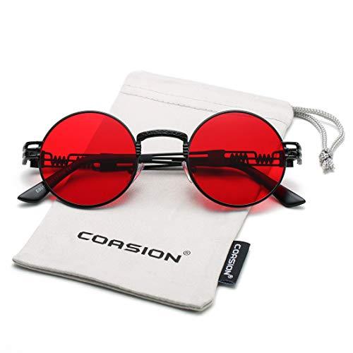 COASION Vintage Round John Lennon Sunglasses Steampunk Gold Metal Frame Clear Sun Glasses (Black Frame/Red Lens)