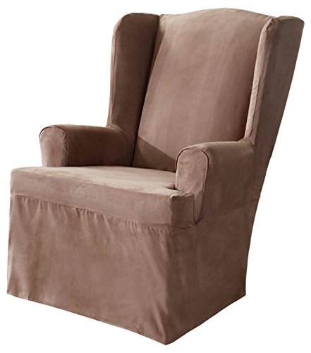 Sure Fit Soft Suede  - Wing Chair Slipcover  - Sable (SF34515)