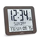 Marathon CL030027-FD-WD Slim Atomic Wall Clock with Indoor/Outdoor Temperature, Full Calendar and Large Display (New Full Display) Color: Wood Tone.
