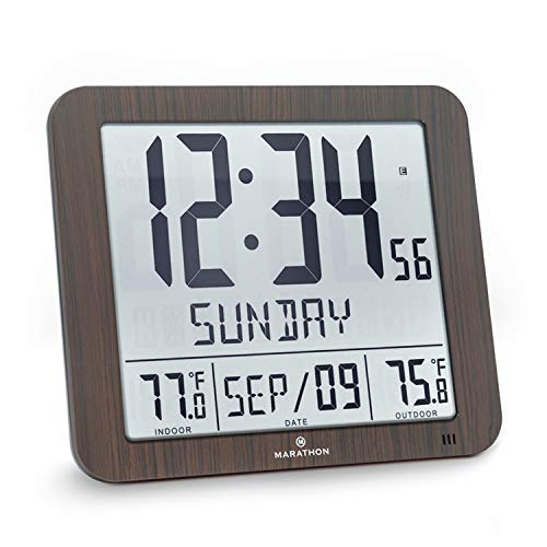 Marathon Slim Atomic Wall Clock with Indoor/Outdoor Temperature, Full Calendar and Large Display - Batteries Included - CL030027-FD-WD (Wood Grain Finish) (Mirror Tall Slim Wall)