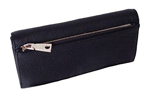 DKNY Signature Vintage Leather French Wallet Bag, Black