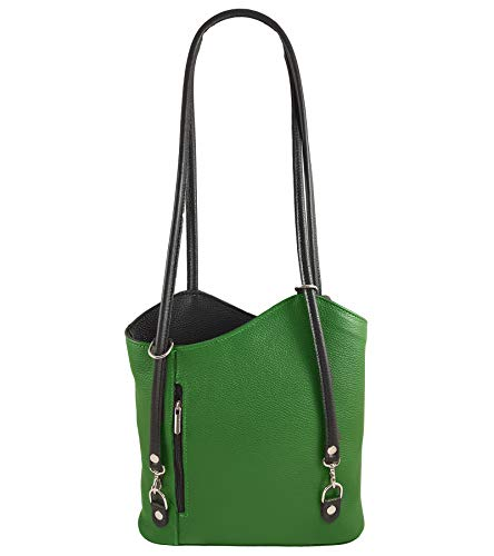 Italy Mujer In Glattleder Made Freyfashion Bolso Grün Mochila Para schwarz fYpx7nEqw