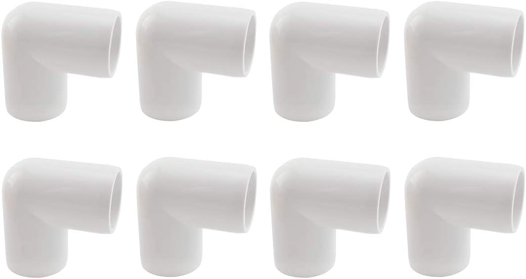 SDTC Tech 8-Pack 3/4 Inch 90 Degree Right Angle PVC Fitting Elbow Furniture Grade Pipe Connector for DIY PVC Shelf Garden Support Structure Storage Frame, White