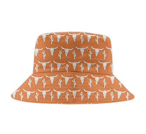 Bucket Hat Packable Outdoor Camping Fishing Rain Safari Boonie Cap Longhorn Cattle Cow Texas Skull Cactus