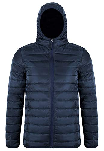 (MADHERO Men's Packable Hooded Puffer Jacket Slim Fit Lightweight Quilted Jacket(Navy Blue,Size M))