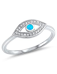 Clear CZ Blue Simulated Opal Evil Eye Halo Ring .925 Sterling Silver Band Sizes 4-10