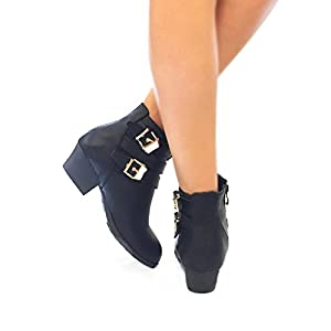 Top Moda Women's Side Zip High Block Heel Ankle Booties Black 10