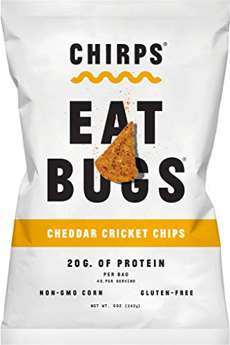 Chirps Cricket Protein Chips, Gluten-Free, High Protein, 5 Oz (Pack of 3) (Cheddar) (The Largest Land Animal In The World)