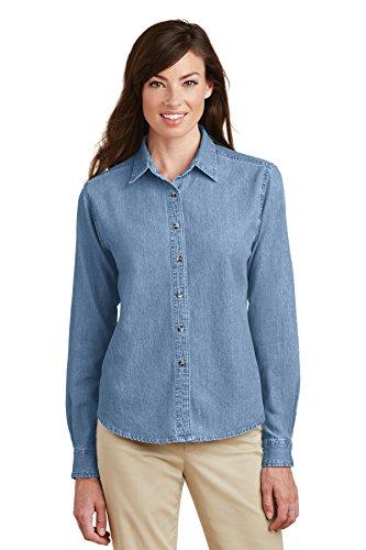 Port & Company Women's Long Sleeve Value Denim Shirt XXL Faded Blue