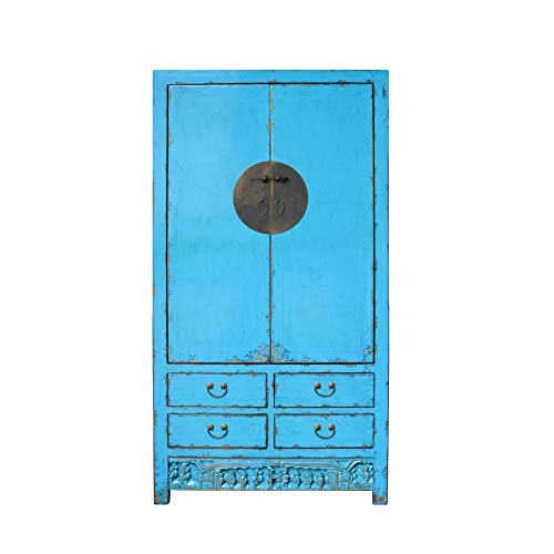 Chinese Distressed Aqua Blue Tall Wedding Armoire Wardrobe TV Cabinet Acs4894 from A Large Cabinet