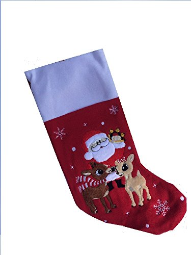 Soft Rudolph The Red Nosed Reindeer Embroidered Applique Stocking 18in Featuring Clarice & Santa -