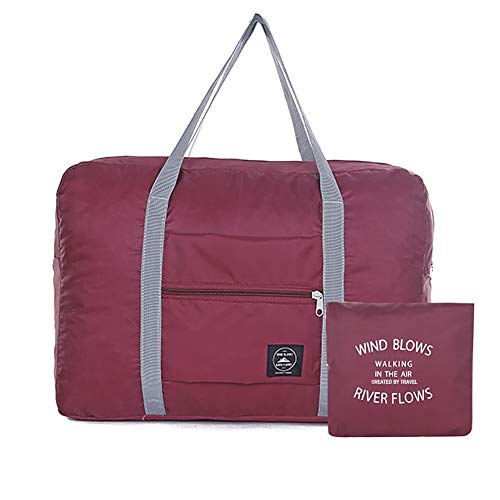 Loritta Foldable Duffel Bag Waterproof Small Travel Luggage Bag for Sport Gym Vacation, Wine Red