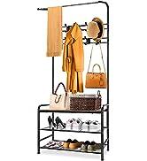 Coat Rack Freestanding Entryway,Coat Hanger Tree Shoe Rack Bench Heavy Duty Clothing Garment Rack...