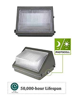 LED Wall Pack with Dusk-to-Dawn Photocell, Waterproof Outdoor Commercial Lighting Fixture, 5000K 100-277Vac