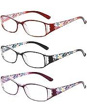 Inlefen Dames Mode Afdrukken Reader Brillen Verpakking van 3 pack Computer Leesbril Blauw licht Blokkeren