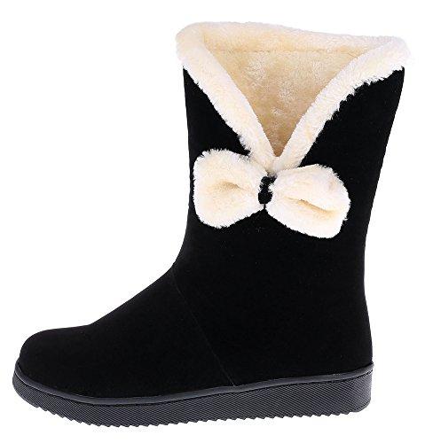 Idifu Womens Sweet Antislip Flat Volledig Bont Gevoerde Snowboots Half Kalf Winter Booties Met Strik Zwart