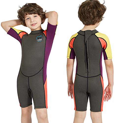 DIVE & SAIL Kids Wetsuit Shorty, 2.5mm Neoprene Thermal Swimsuit, Youth Boys and Girls Wet Suits for Snorkel Diving, Full Suit and Shorty Swimsuit (Boy's Shorty-Grey, Kids S Size for Toddlers) ()