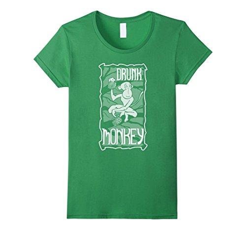 Womens Drunk Monkey White Print T-Shirt Medium (Drunk Monkey)