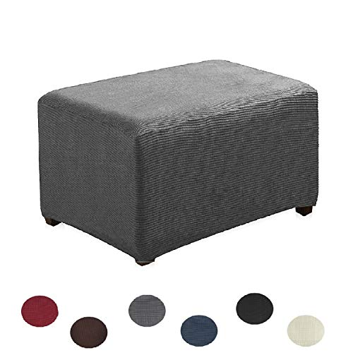 Argstar Jacquard Ottoman Cover Fleece Protector Stretch Slipcover Elastic Grey for Sofa Sets
