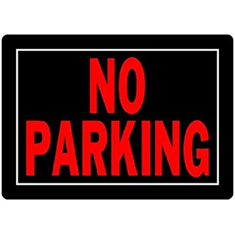 Hillman 840145 No Parking Sign, Black and Red Aluminum Metal, 10x14 Inches - No Parking Signs Metal