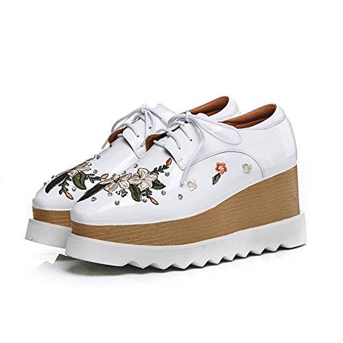 Sangles White KJJDE À La Chaussures WSXY Double Croisées Semelles Broderie Main Femme 34 Baskets Plateformes Q1617 À Creepers v4UvRaq