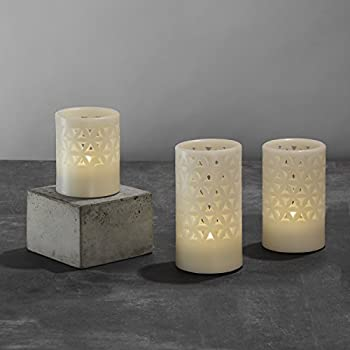 3 Ivory Flameless Pillar Candles with Wax Cut Out Designs, Neutral White LEDs, Trinity Collection, Batteries & Remote Included