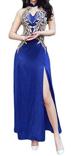 Les Femmes Sans Manches Domple Fente Latérale En Forme Mince Floral Bleu Robe De Cocktail Sexy