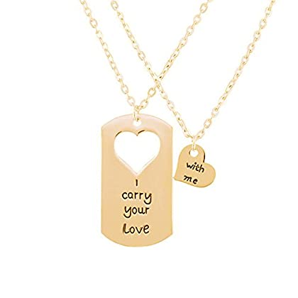 Bold N Elegant Valentine's Day I Carry Your Love with Me Heart Puzzle Couple Duo Pendant Chain Necklace Combo of 2 Jewellery Pcs BFF Lovers Gift